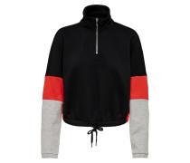 Sweatshirt hellgrau / rot / schwarz