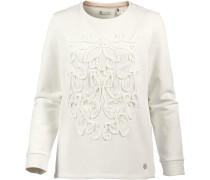 'lace Detail Crew' Sweatshirt perlweiß