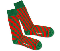 Socken 'Green Liner' grün / rot