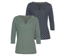 Bluse navy / smaragd