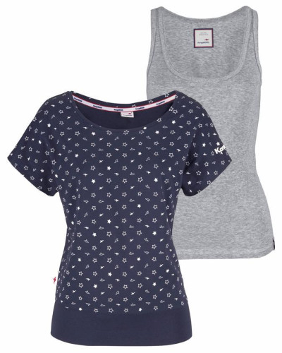 Oversize-Shirt marine / grau / weiß