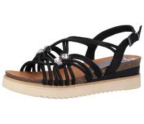 Sandalen schwarz / perlweiß