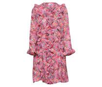 Kleid mit Rüschen mischfarben / pink