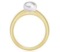 Silberring mit Perle gold / perlweiß