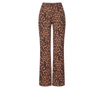 Hose 'leopard Flare Pant' braun / schwarz