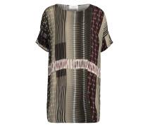 Blusenkleid khaki / rubinrot / naturweiß