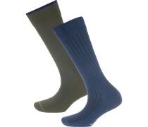 Socken 'Ludvig' dunkelblau / khaki