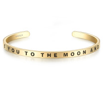 Edelstahlarmband mit I Love YOU TO THE Moon AND BACK-Schriftzug