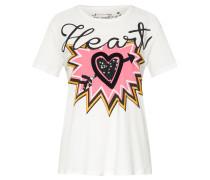 T-shirt 'heart' mischfarben / weiß