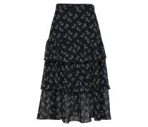 Rock 'long Frilled Silk Chiffon Skirt With A Bloom Print'