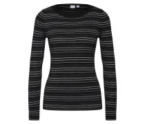 Shirt 'ribbed Stripe PO' grau / schwarz