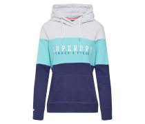 Sweatshirt blau / türkis / hellgrau
