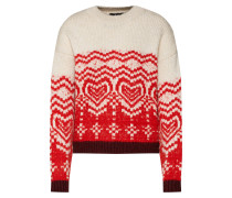 Pullover 'jacquard Sweater' rot / weiß