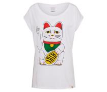 T-Shirt 'Big Kitty' grün / rot / weiß
