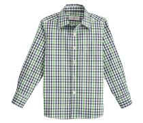 Trachtenhemd marine / hellgrün / weiß