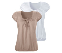 Shirts (2 Stck.) taupe / weiß