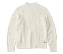 Pullover 'cable Mock Neck & Pattern'