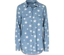 Jeansbluse hellblau / weiß
