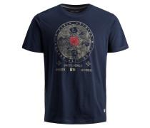T-Shirt hellbeige / enzian / feuerrot
