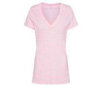 Shirt 'SS Vint RIB VNK Str' rosa / weiß