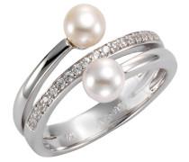 Perlenring silber / perlweiß