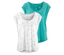 T-Shirts (2 Stück) türkis / weiß