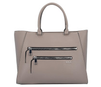Tasche Handtasche 38 cm taupe / schwarz