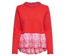 Detailreiches Sweatshirt rot / weiß