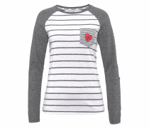 Longsleeve grau / rot / weiß
