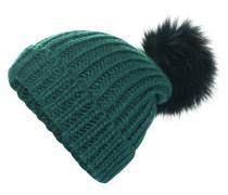Strickmütze smaragd / schwarz