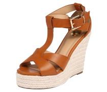 Sandale mit Keilabsatz braun