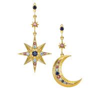 Verete Ohrringe 'Royalty Stern & Mond' mit Zirkonia Steinen