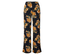 Hose 'Floral Trouser' gelb / schwarz