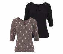 Shirts taupe / schwarz / weiß