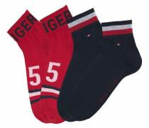 Kurze Socken (4 Paar) marine / rot