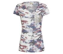 T-Shirt taubenblau / merlot / weiß