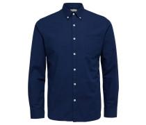 Oxford-Langarmhemd dunkelblau