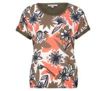Shirt oliv / orange / weiß