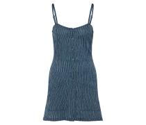 Kleid taubenblau / perlweiß