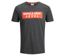 T-Shirt dunkelgrau / hellrot / weiß