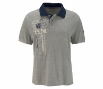 Poloshirt blau / graumeliert / weiß