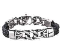 Armband aus Leder in mehrreihiger Optik mit Edelstahl