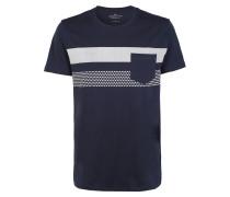 T-Shirt graumeliert / dunkelblau