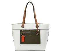 Shopper 'Emerita' oliv / weiß