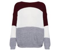 Pullover grau / bordeaux / weiß