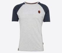 T-Shirt 'Dachrinne' indigo / grau