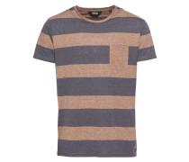 T-Shirt 'T-Shirt - Reed' dunkelblau / braun