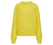 Pullover 'brushed Pointelle Crew' neongelb