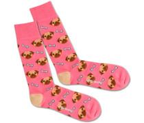 Socken 'Dog Love' braun / pink / weiß