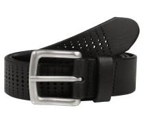 Perforierter Ledergürtel 'b06' schwarz
